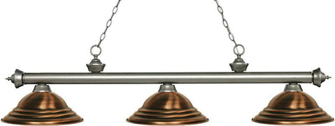 Z-Lite 200-3AS-SAC 3 Light Billiard Light Riviera Antique Silver Collection Stepped Antique Copper Finish - ZLiteStore