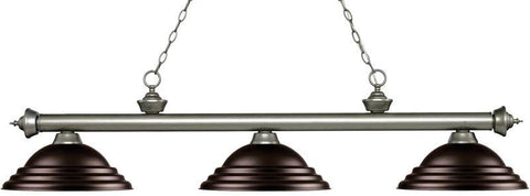 Z-Lite 200-3AS-SBRZ 3 Light Billiard Light Riviera Antique Silver Collection Stepped Bronze Finish - ZLiteStore