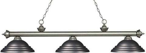Z-Lite 200-3AS-SOB 3 Light Billiard Light Riviera Antique Silver Collection Stepped Olde Bronze Finish - ZLiteStore