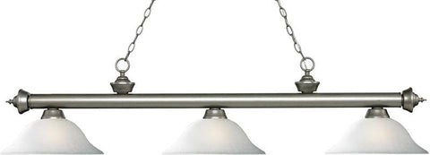Z-Lite 200-3AS-WL16 3 Light Billiard Light Riviera Antique Silver Collection White Linen Finish - ZLiteStore