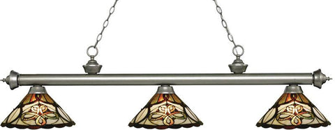 Z-Lite 200-3AS-Z14-10 3 Light Billiard Light Riviera Antique Silver Collection Multi Colored Tiffany Finish - ZLiteStore