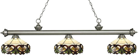 Z-Lite 200-3AS-Z14-33 3 Light Billiard Light Riviera Antique Silver Collection Multi Colored Tiffany Finish - ZLiteStore