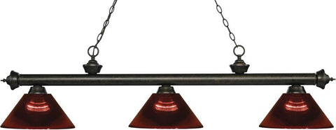 Z-Lite 200-3GB-ARBG 3 Light Billiard Light Riviera Golden Bronze Collection Burgundy Finish - ZLiteStore