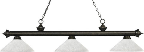 Z-Lite 200-3GB-AWL14 3 Light Billiard Light Riviera Golden Bronze Collection Angle White Linen Finish - ZLiteStore