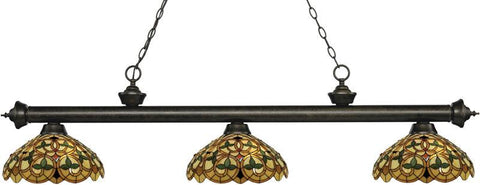 Z-Lite 200-3GB-C14 3 Light Billiard Light Riviera Golden Bronze Collection Multi Colored Tiffany Finish - ZLiteStore