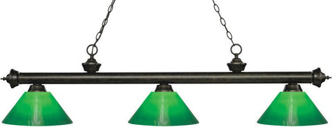 Z-Lite 200-3GB-GCG14 3 Light Billiard Light Riviera Golden Bronze Collection Green Cased Finish - ZLiteStore