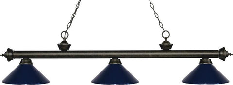 Z-Lite 200-3GB-MNB 3 Light Billiard Light Riviera Golden Bronze Collection Navy Blue Finish - ZLiteStore