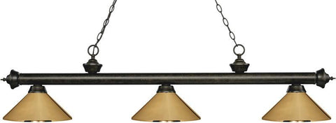 Z-Lite 200-3GB-MPB 3 Light Billiard Light Riviera Golden Bronze Collection Polished Brass Finish - ZLiteStore