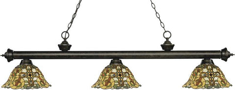 Z-Lite 200-3GB-R14A 3 Light Billiard Light Riviera Golden Bronze Collection Multi Colored Tiffany Finish - ZLiteStore