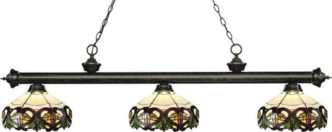 Z-Lite 200-3GB-Z14-33 3 Light Billiard Light Riviera Golden Bronze Collection Multi Colored Tiffany Finish - ZLiteStore