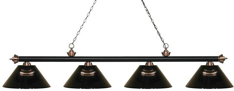 Z-Lite 200-4MB+AC-ARS 4 Light Island/Billiard Light Riviera Matte Black & Antique Copper Collection Smoke Finish - ZLiteStore