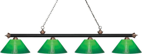 Z-Lite 200-4MB+AC-GCG14 4 Light Island/Billiard Light Riviera Matte Black & Antique Copper Collection Green Cased Finish - ZLiteStore