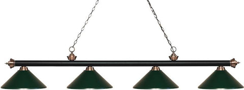 Z-Lite 200-4MB+AC-MDG 4 Light Island/Billiard Light Riviera Matte Black & Antique Copper Collection Dark Green Finish - ZLiteStore