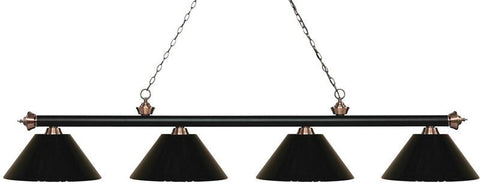 Z-Lite 200-4MB+AC-PBK 4 Light Island/Billiard Light Riviera Matte Black & Antique Copper Collection Black Finish - ZLiteStore