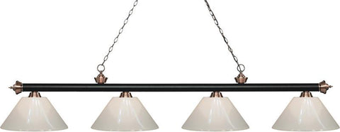 Z-Lite 200-4MB+AC-PWH 4 Light Island/Billiard Light Riviera Matte Black & Antique Copper Collection White Finish - ZLiteStore