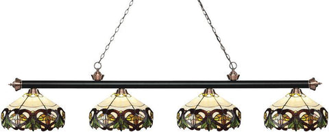 Z-Lite 200-4MB+AC-Z14-33 4 Light Island/Billiard Light Riviera Matte Black & Antique Copper Collection Multi-Coloured Tiffany Finish - ZLiteStore
