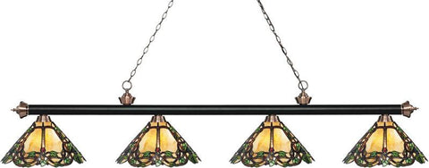 Z-Lite 200-4MB+AC-Z14-37 4 Light Island/Billiard Light Riviera Matte Black & Antique Copper Collection Multi-Coloured Tiffany Finish - ZLiteStore