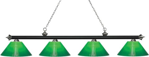 Z-Lite 200-4MB+BN-GCG14 4 Light Island/Billiard Light Riviera Matte Black & Brushed Nickel Collection Green Cased Finish - ZLiteStore
