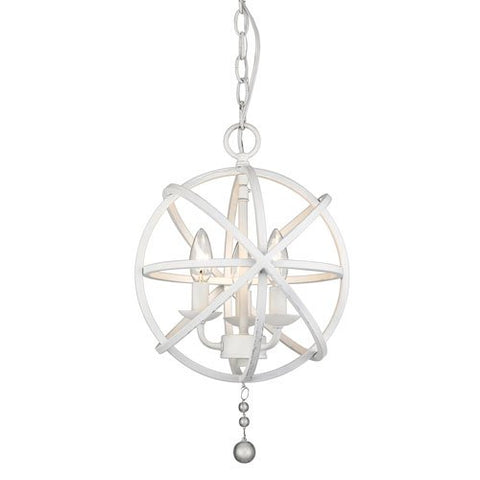 3-Light Chandelier in Matte White Finish