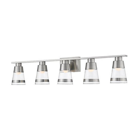 5-Light Steel Vanity in Brushed Nickel Finish