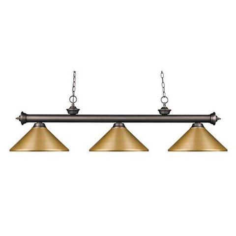 Z-Lite Riviera Olde Bronze 14-Inch Three-Light Island Pendant with Satin Gold Metal Shade