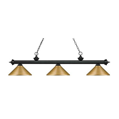 Z-Lite Riviera Matte Black 14-Inch Three-Light Island Pendant with Satin Gold Metal Shade
