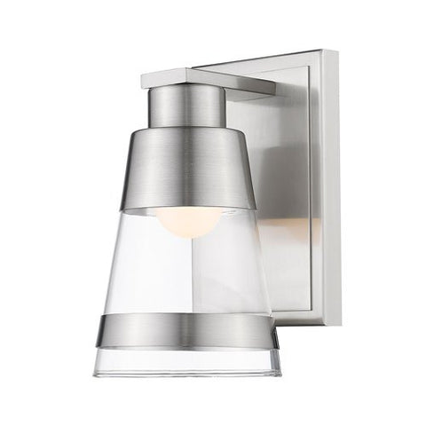 1-Light Steel Wall Sconce with Clear Glass Shade