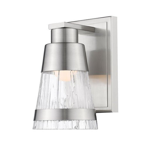 1-Light Wall Sconce with Chisel Glass Shade