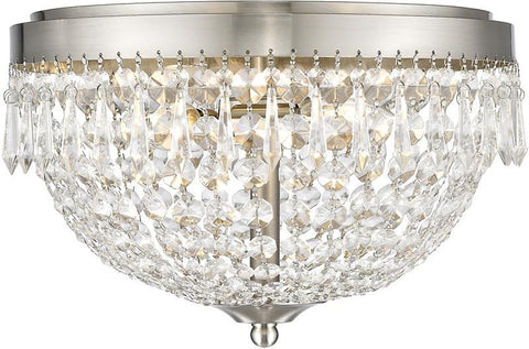 Z-Lite 431F3-BN 3 Light Flush Mount Danza Collection Clear Finish - ZLiteStore