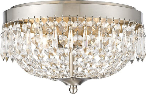 Z-Lite 431F4-BN 3 Light Flush Mount Danza Collection Clear Finish - ZLiteStore