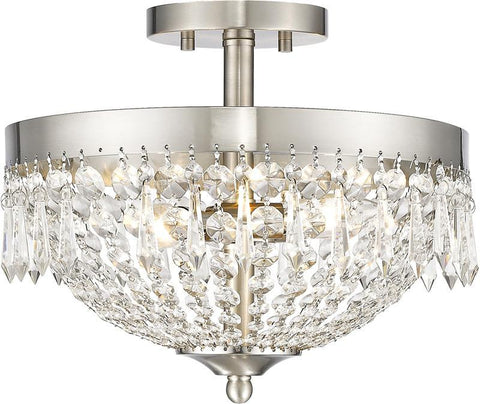 Z-Lite 431SF3-BN 3 Light Semi Flush Mount Danza Collection Clear Finish - ZLiteStore