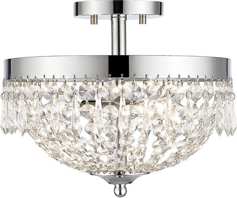 Z-Lite 431SF3-CH 3 Light Semi Flush Mount Danza Collection Clear Finish - ZLiteStore
