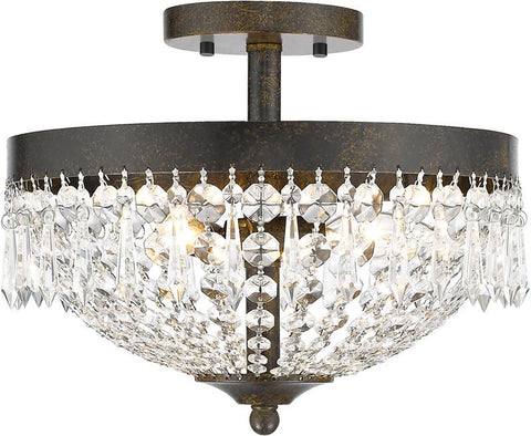Z-Lite 431SF3-GB 3 Light Semi Flush Mount Danza Collection Clear Finish - ZLiteStore