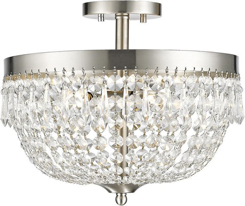 Z-Lite 431SF4-BN 3 Light Semi Flush Mount Danza Collection Clear Finish - ZLiteStore