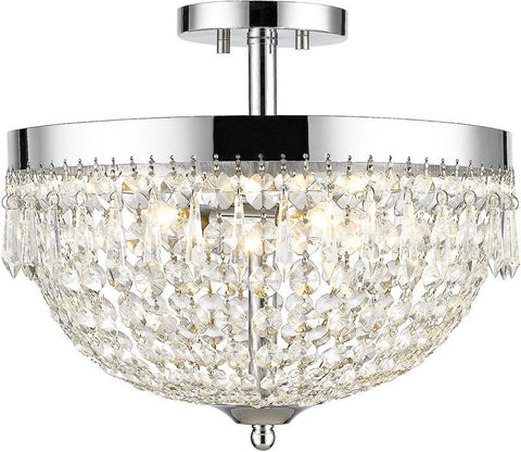 Z-Lite 431SF4-CH 4 Light Semi Flush Mount Danza Collection Clear Finish - ZLiteStore
