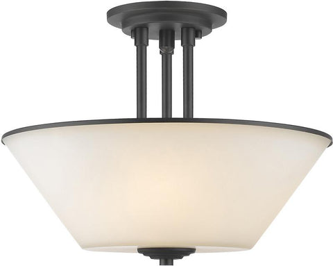 Z-Lite 432SF-BRZ 3 Light Semi Flush Mount Jarra Collection White Finish - ZLiteStore