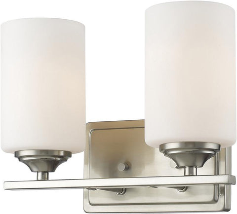 Z-Lite 435-2V-BN 2 Light Vanity Light Bordeaux Collection Matte Opal Finish - ZLiteStore