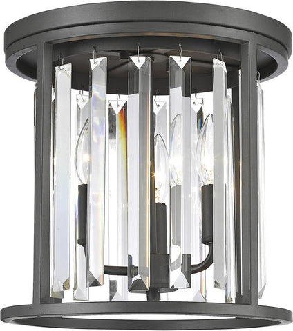 Z-Lite 439F12-BRZ 3 Light Flush Mount Monarch Collection Clear Finish - ZLiteStore