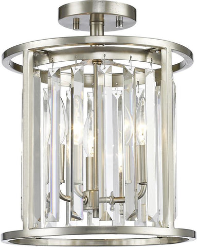 Z-Lite 439SF12-BN 3 Light Semi Flush Mount Monarch Collection Clear Finish - ZLiteStore
