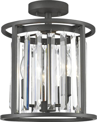 Z-Lite 439SF12-BRZ 3 Light Semi Flush Mount Monarch Collection Clear Finish - ZLiteStore