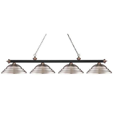 Z-LITE 200-4MB+AC-SBN Riviera Matte Black & Antique Copper 4-Light Island/Billiard, Matte Black & Antique Copper