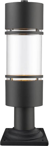 Z-Lite 553PHB-533PM-ORBZ-LE Outdoor LED Post Mount Light Luminata Collection Clear Glass Finish - ZLiteStore