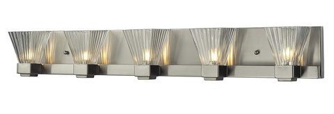 Z-Lite 1910-5V Iluna Five Light Vanity Light, Steel Frame, Brushed Nickel Finish and Clear Ribbed Shade of Glass Material