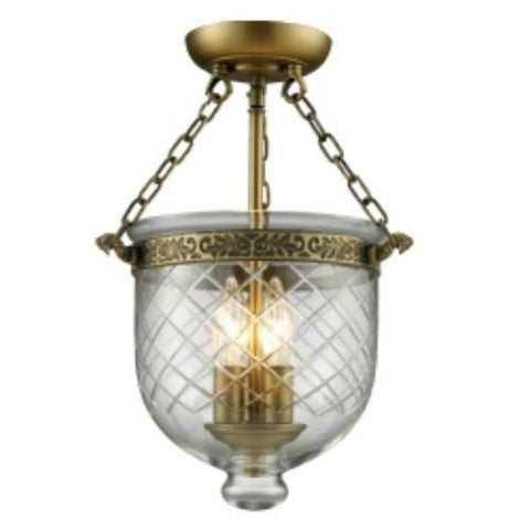 Z-Lite Tudor Collection Antique Brass Finish Three Light Semi Flush Mount - ZLiteStore
