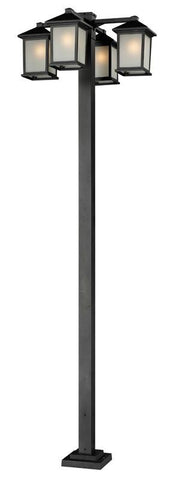 Z-Lite 507-4-536p-bk Holbrook Collection 4 Head Outdoor Post - ZLiteStore