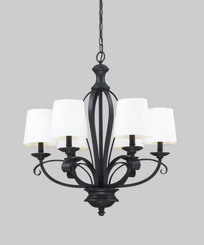 Z-Lite 2007-6 Charleston Collection White/Matte Black Finish 6 Light Chandelier - ZLiteStore