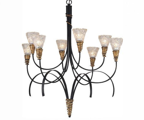 Z-Lite Mardi Gras Collection Matte Black/Gold Finish Eight Lights Chandelier - ZLiteStore