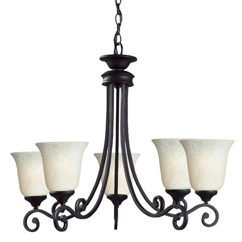 Z-Lite Windsor Collection Matte Black Finish 5 Light Chandelier - ZLiteStore