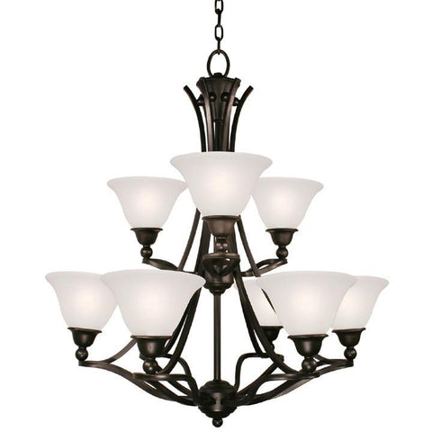 Z-Lite Carlisle Collection Bronze Finish Nine Light Chandelier - ZLiteStore