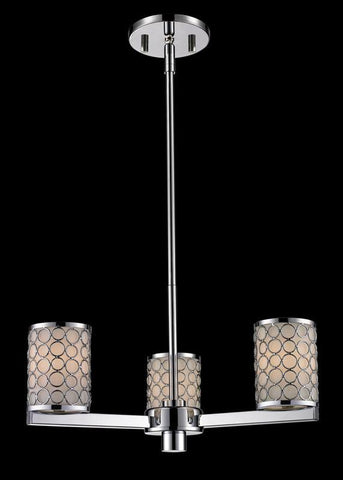 Z-Lite 199-3 Synergy Collection Chrome/Matte Opal Finish 3 Light Chandelier - ZLiteStore